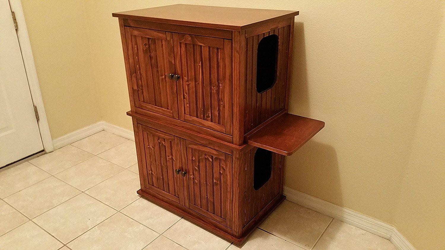 Double Stacked Cat Litter Box Cabinets