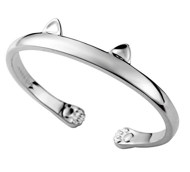 Sterling Silver Women Kitty Cat Open Cuff Bracelet