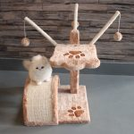 "Favorite 17"" H Cat Tree Plush Condo Furniture Sisal Scratching Post 3 Sisal Sticks with Balls"