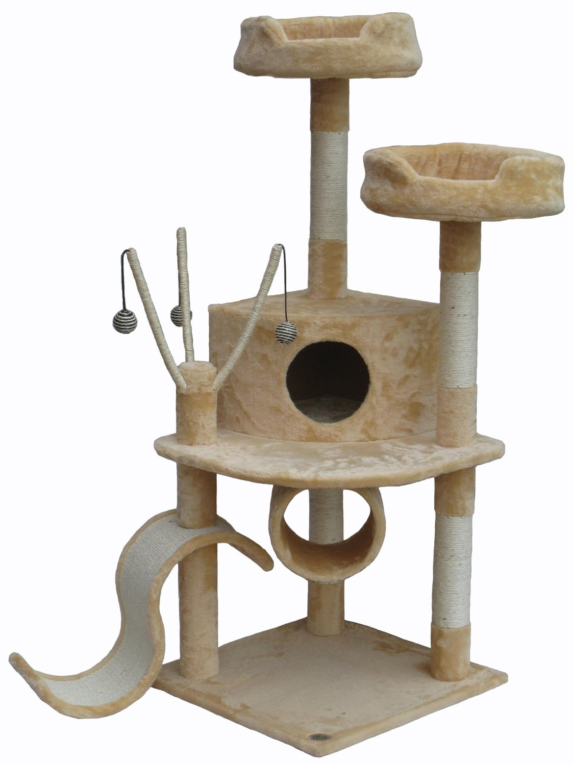 Go Pet Club Cat Tree Furniture 55 in. High - Pie Loft Beige