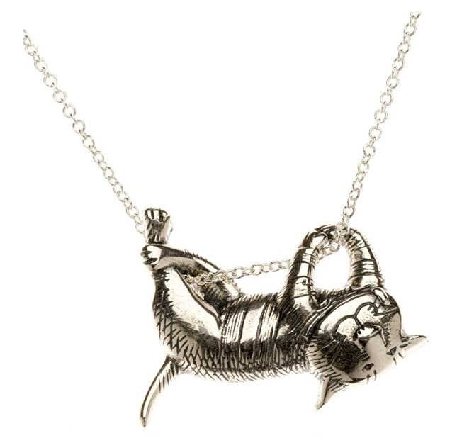 Amy Alder Edward Gorey Dangling Cat Necklace