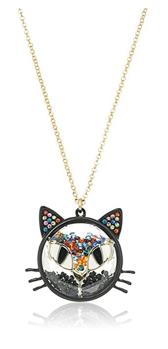 "Betsey Johnson ""Skeletons After Dark"" Shaky Bead Faceted Stone Cat Long Pendant Necklace"