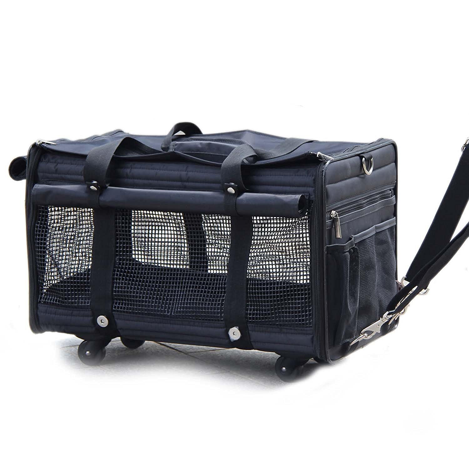 Deluxe Black Soft Sided Pet Carrier on Wheels-Perfect for Cats or Small Dogs