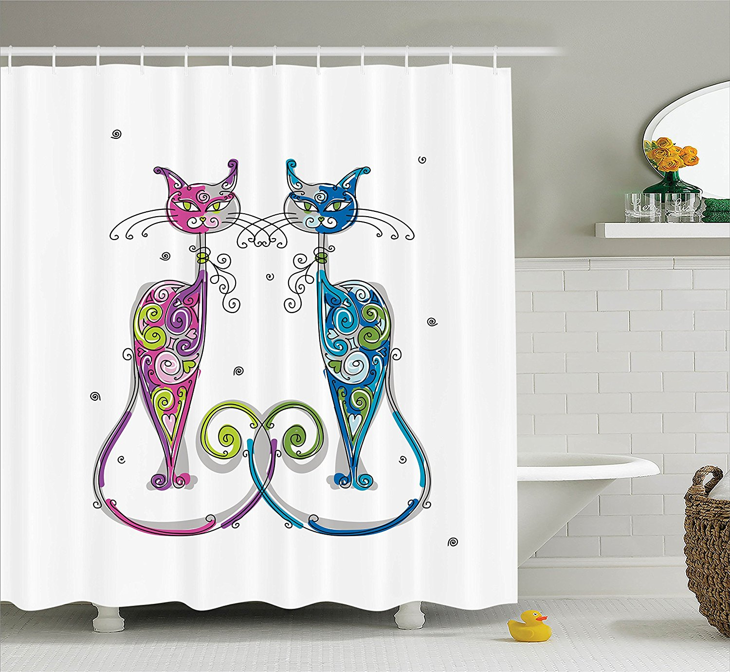 Vibrant cat shower curtain