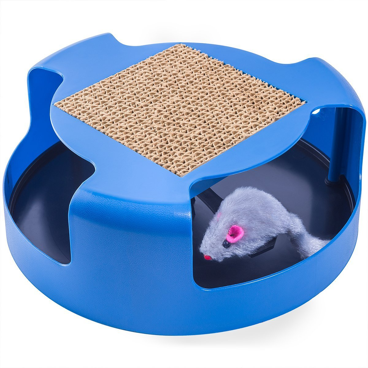 OxGord Interactive Training Exercise Cat Kitten Mouse Play Toy with Turbo Scratching Post Pad