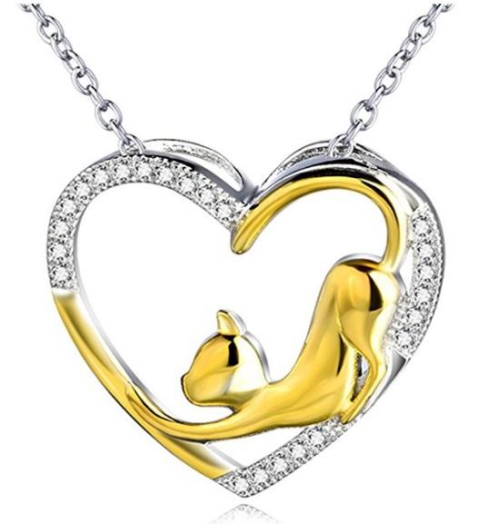 Silver Cat Heart Pendant