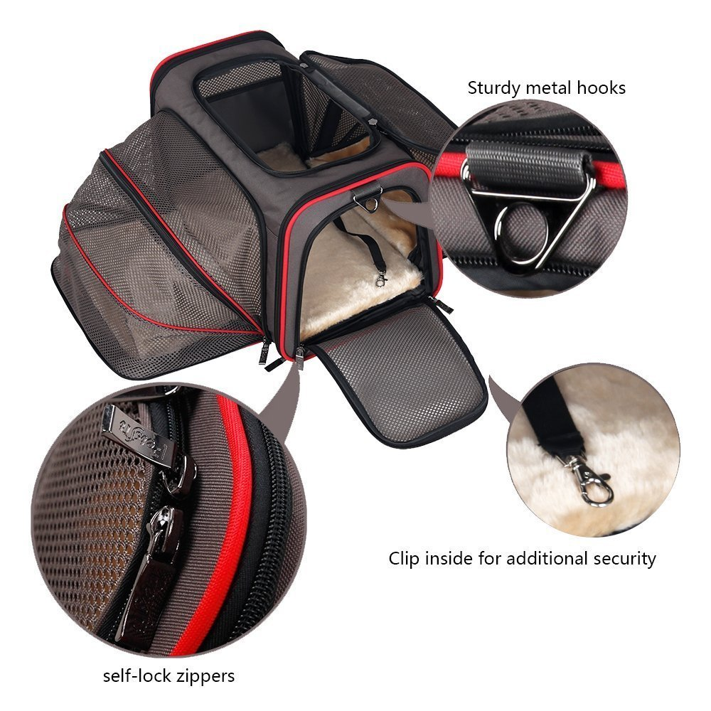 Premium Airline Approved Expandable Cat Carrier by Pet Peppy- TWO SIDE Expansion!