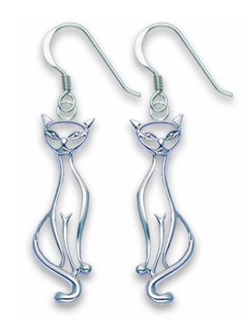 Heather Needham, Sterling Silver Open Design Cat Drop Earrings - Size: 22mm