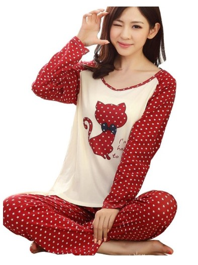 Romastory Girl's Cute Cat Print Pajama Set
