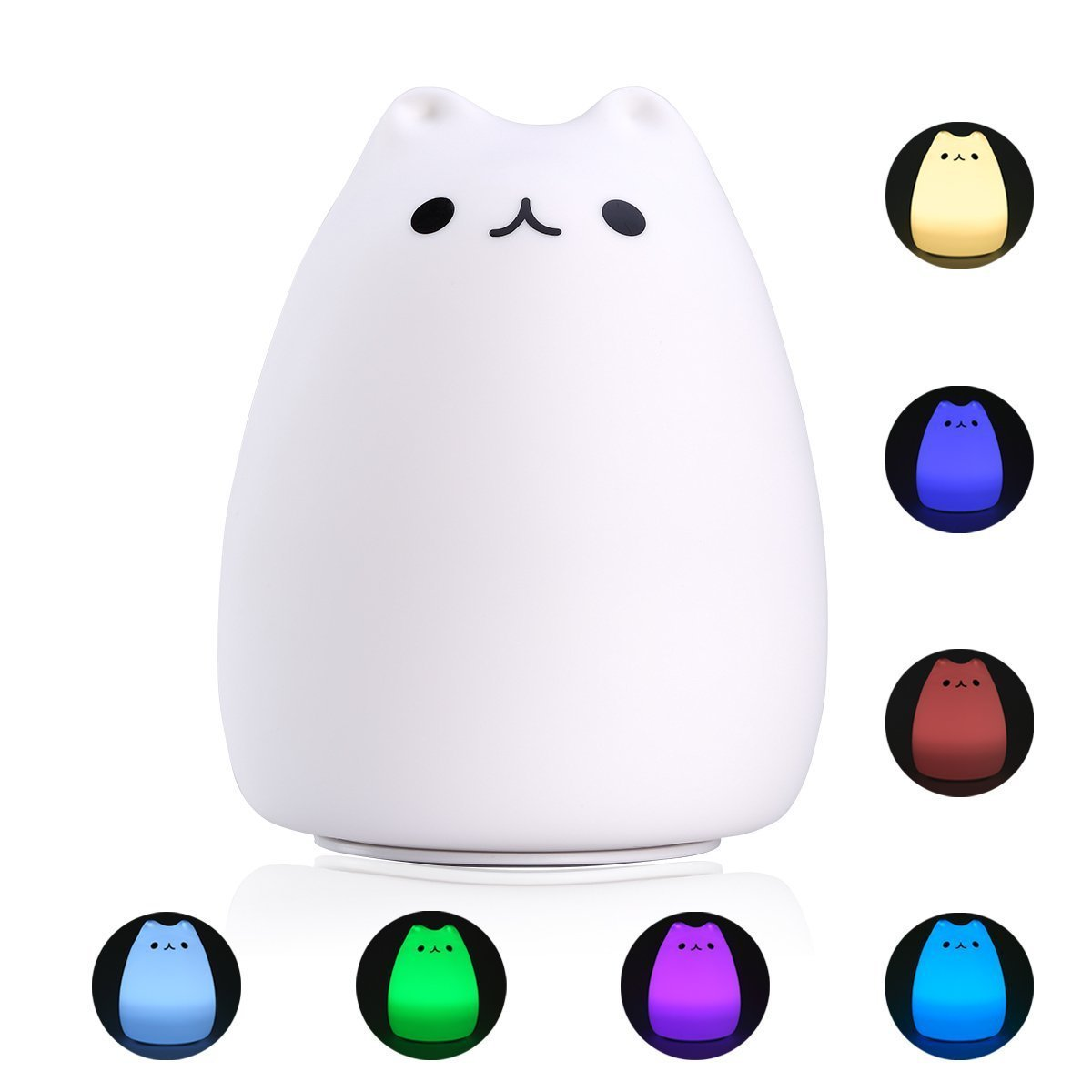 S&G night light Cute Smile Cat Silicon LED Desk Lamp with 7 Changing Color for Baby Bedroom Office- Warm White
