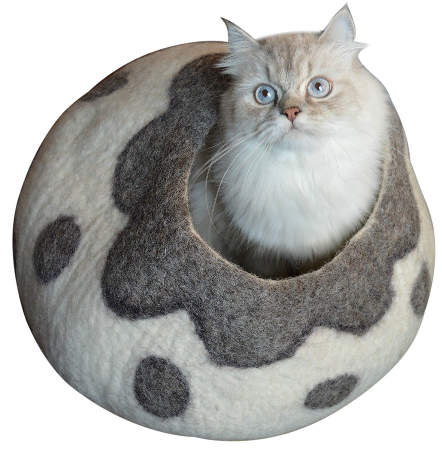 Best Cat Cave Bed, Unique Handmade Natural Felted Merino Wool, Large Covered and Cozy, Also Perfect for Kittens, Includes Bonus Catnip By Earthtone Solutions