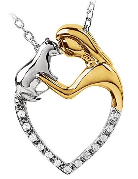 "Roxx Fine Jewelry Tender Voices ASPCA .06 Ct. Diamond ""Best Friends"" 18"" Cat Necklace"