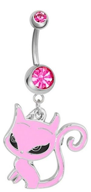 14g Surgical Steel Pink Sassy Cat Jeweled Dangle Belly Button Ring