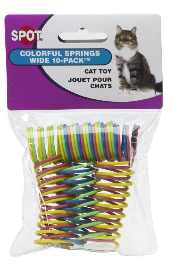 Ethical Pet Wide Durable Heavy Gauge Plastic Colorful Springs Cat Toy, 10 Count per Pack